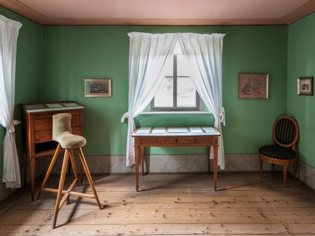 "Goethe's study with his ""rider"" stool"