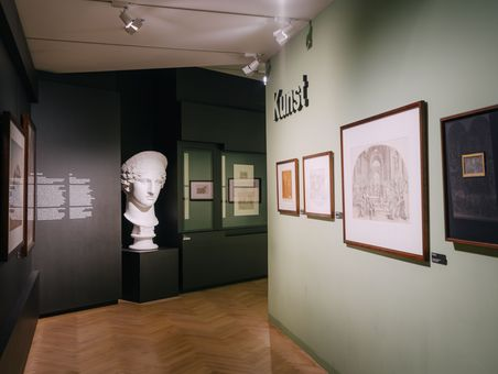 "Section entitled ""KUNST"" (Art) with the bust of Juno Ludovisi"